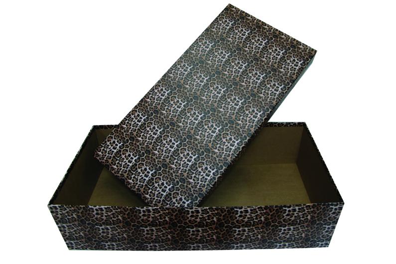 Caixa grande revestida com papel onça [CA211]