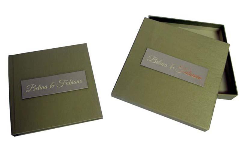 Livro de presença costurado com caixa [LP043]